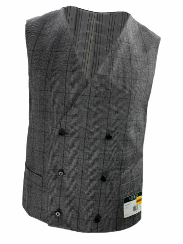 Lauren Ralph Lauren Men's Wool Plaid Double Breasted Vest Black White Medium