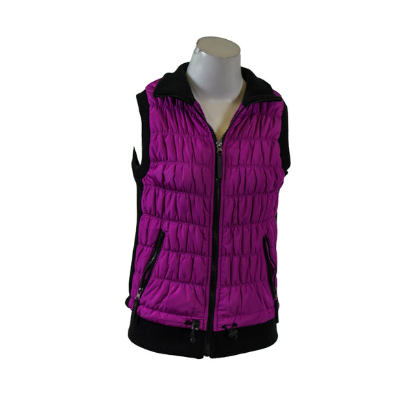 Calvin Klein Women's Performance Ribbed Knit Quilted Puffer Vest Purple Size XS