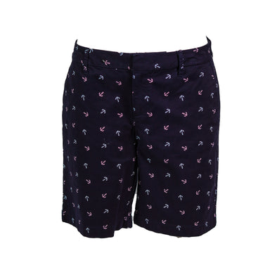 Tommy Hilfiger Women's Anchor Print Bermuda Shorts Navy Blue Pink White Size 4