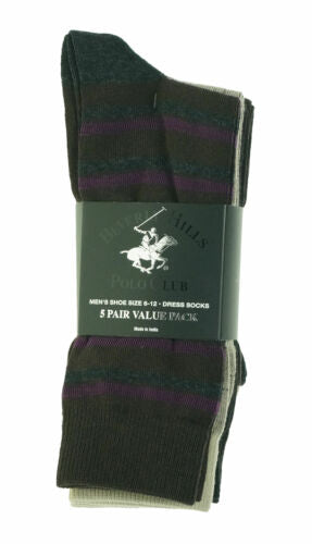 Beverly Hills Men's 5 Pair Fashion Design Dress Socks Brown Purple Tan
