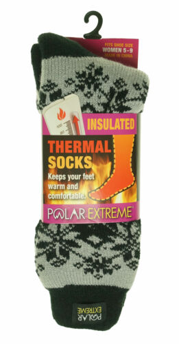 Polar Extreme Women's Thermal Insulated Lined Crew Socks Ivory Black Snowflakes