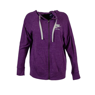 Nike Women's Plus Size Full Zip Gym Vintage Lightweight Hoodie Purple Size 1X
