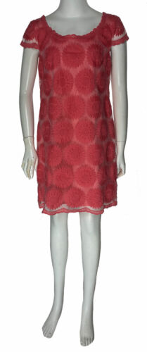 Betsey Johnson Women's Cap Sleeve Floral Lace Shift Dress Pink Size 6