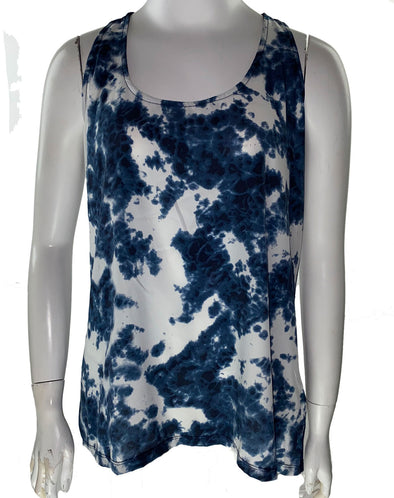 Calvin Klein Women's Printed Sleeveless Swing Top Blue Size Small