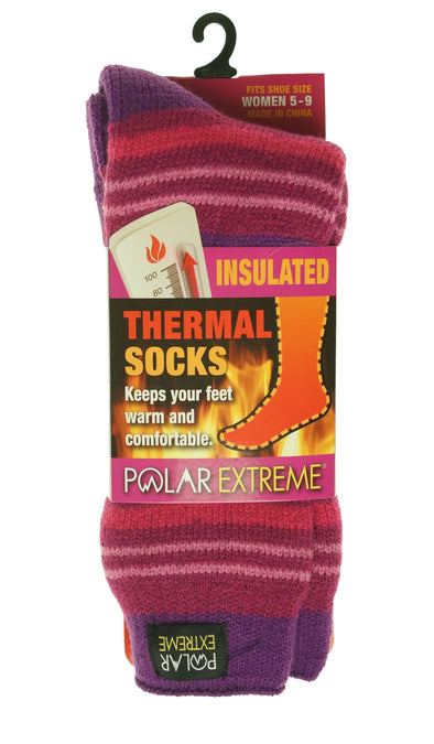 Polar Extreme Women's Thermal Insulated Lined Striped Crew Socks Purple Magenta