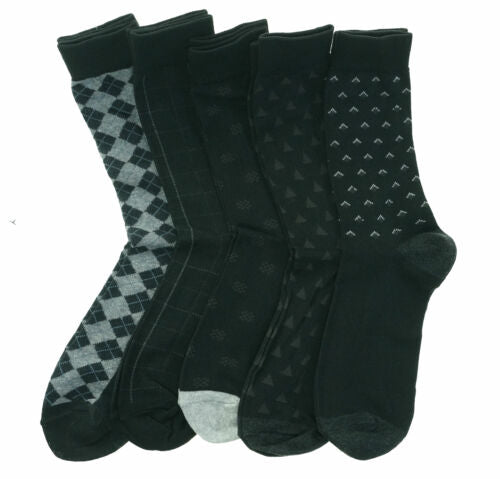 Beverly Hills Men's 5 Pair Fashion Design Dress Socks Black Gray