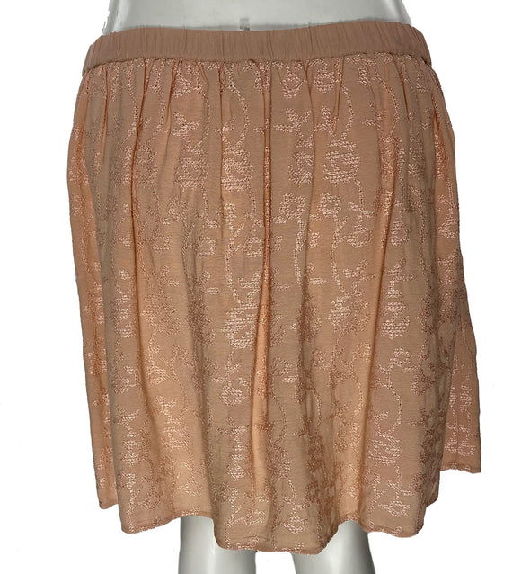 Lucky Brand Women's Mini A Line Embroidered Skirt Blush Pink Size Large