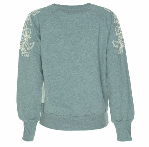 1.state Women's Embroidered Shoulder Sweatshirt Heather Gray