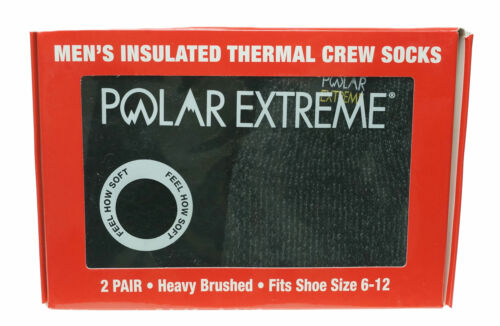 Polar Extreme Men's 2 Pair Thermal insulated Fleece Crew Socks Black Gray Marl