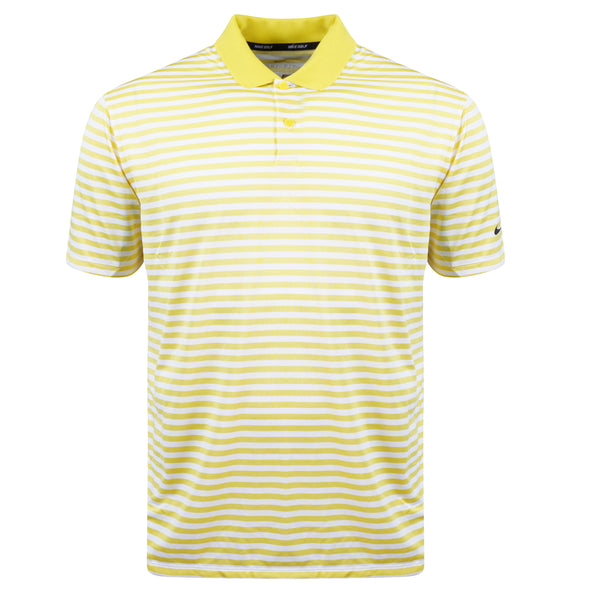 Nike Men's Striped Short Sleeve Golf Polo Yellow White