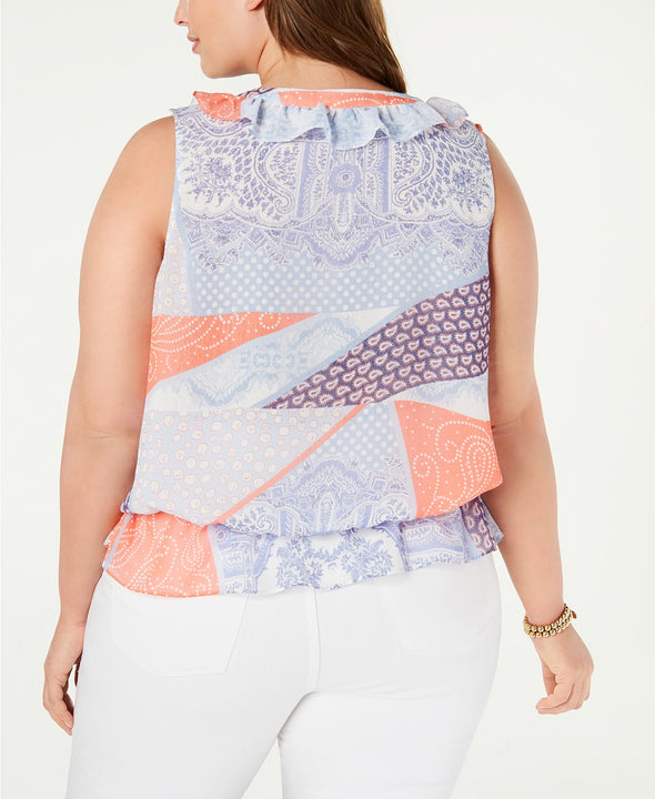 Tommy Hilfiger Womens Plus Size Chiffon Printed Peplum Sleeveless Top Blue Coral