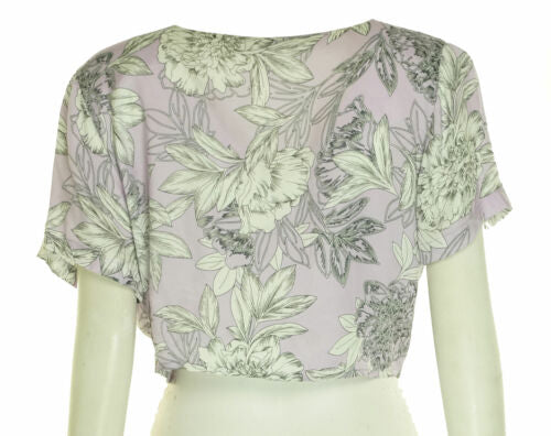 Bardot Women's Tie Front Floral Print Cropped Top Lilac Purple