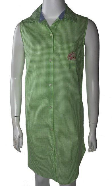 Lauren Ralph Lauren Women's Sleeveless Button Front Cotton Nightshirt Green