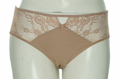 Ashley Graham Women's Plus Size Front Keyhole Lace Panty Brief Cappuccino