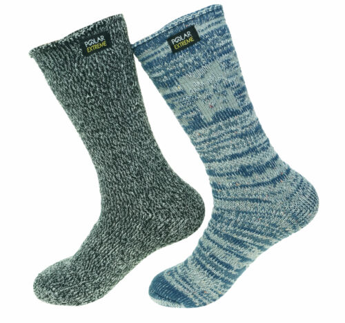 Polar Extreme Women's 2 Pair Thermal Insulated Fleece Crew Socks Marl Blue
