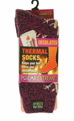 Polar Extreme Women's Thermal Insulated Lined Crew Socks Magenta Snowflakes