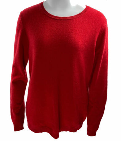 Charter Club Women's Cashmere Crew Neck Long Sleeve Sweater Red Size Large