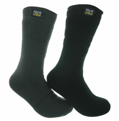 Polar Extreme Men's 2 Pair Thermal insulated Fleece Crew Socks Black Charcoal