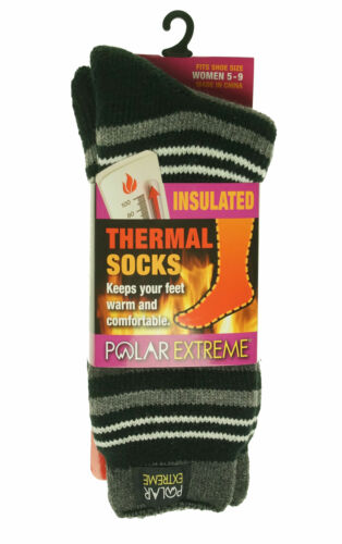 Polar Extreme Women's Thermal Insulated Lined Striped Crew Socks Black Gray