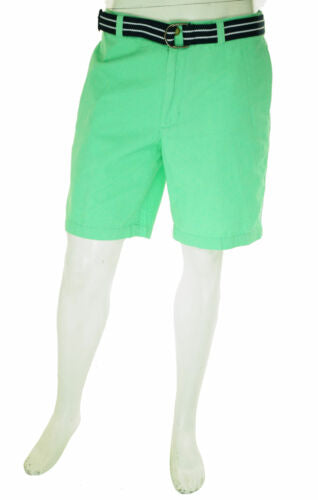 Club Room Men's Belted Flat Front Chino Shorts Neptune Green