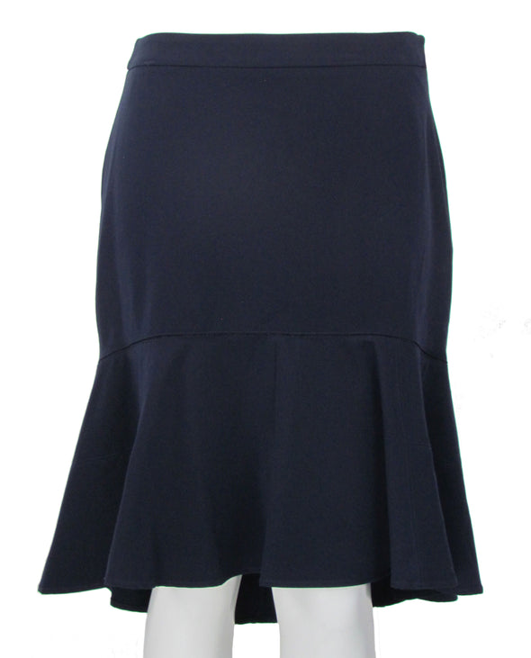 Tommy Hilfiger Women's Twill High Low Ruffle Skirt Navy Blue Size 12