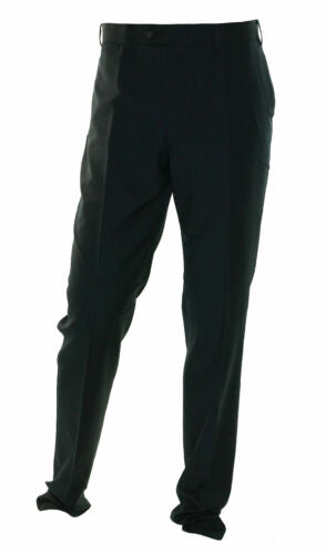 DKNY Men's Flat Front Raw Hem Dress Pants Navy Blue