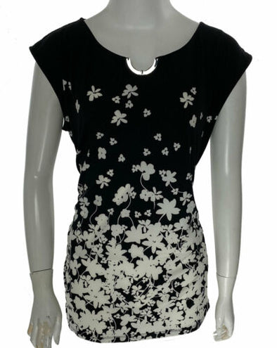 Calvin Klein Women's Sleeveless Floral Print Jersey Top Black Multi Size Large