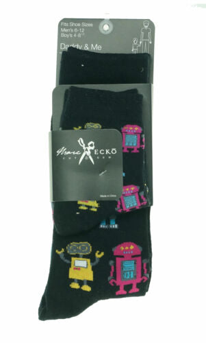 Marc Ecko Cut & Sew Daddy & Me Two-Fer Socks Black Robots