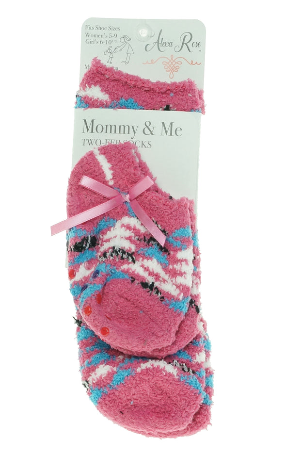 Alexa Rose Mommy & Me Fuzzy Butter Socks Toddler Size Pink Blue