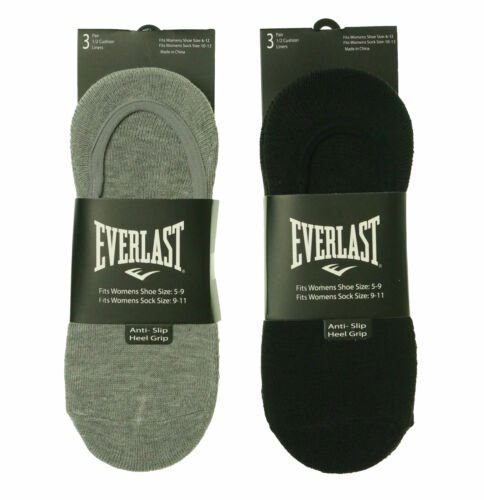 Everlast Women's 6 Pair Anti Slip Heel Grip Ultra Low Liners Black White Gray