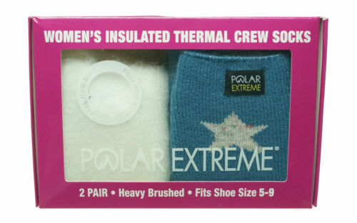 Polar Extreme Womens 2 Pair Thermal Insulated Fleece Crew Socks Ivory Blue Stars