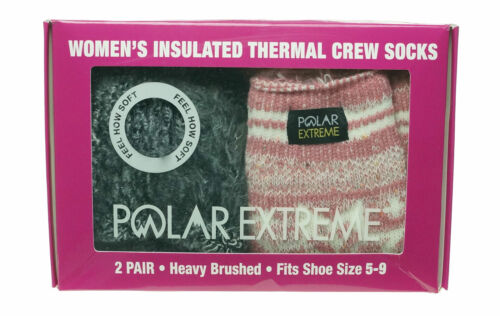 Polar Extreme Women's 2 Pair Thermal Insulated Fleece Crew Socks Marl Pink
