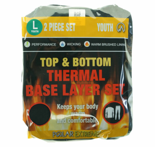 Polar Extreme Youth Top & Bottom Thermal Base Layer Set Black