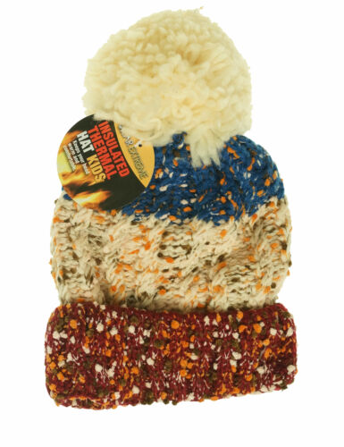 Polar Extreme Kid's Thermal Insulated Pom Pom Colorblock Beanie Maroon Blue