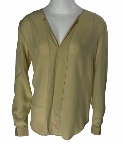 Anne Klein Women's Long Sleeve Silk Blouse Tan Size 8