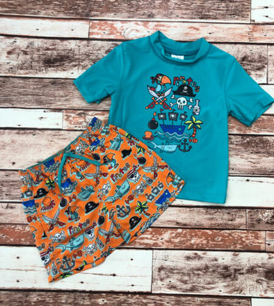 Kiko & Max Little Boy's Two Piece Rashguard Swim Set Turquoise Pirates