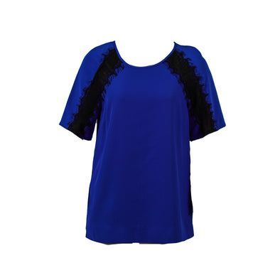 Calvin Klein Women's Shoulder Lace Inset Short Sleeve Chiffon Top Blue Small