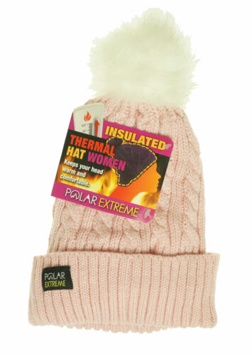 Polar Extreme Women's Thermal Lined Insulated Pom Pom Cable Knit Beanie Pink