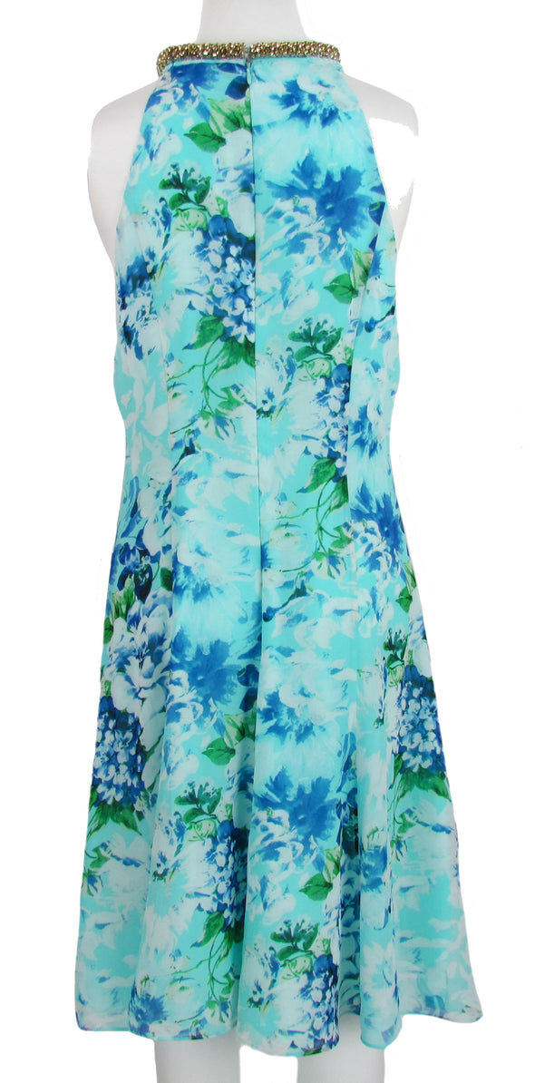 Calvin Klein Women's Embellished Sleeveless Shift Dress Blue Size 10