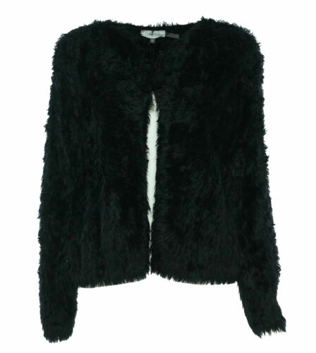 Calvin Klein Women's Fuzzy Cropped Cardigan Black Size Medium