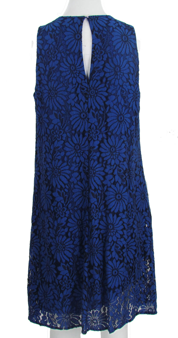 Tommy Hilfiger Women's Sleeveless Lace Shift Floral Dress Blue Size 6