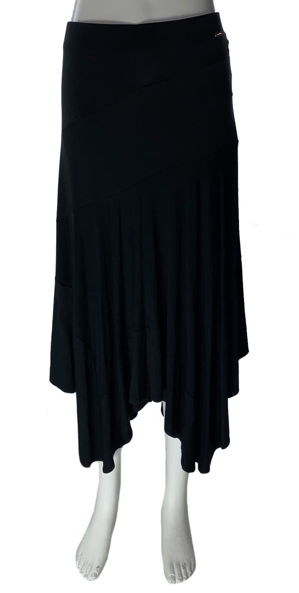 Calvin Klein Women's Handerchief Hem Pull On Stretch Skirt Black Size Medium
