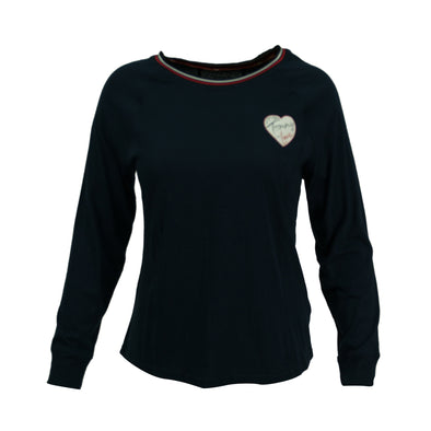 Tommy Hilfiger Women's Sport Heart Logo Striped Trim Shirt Navy Blue Size XL