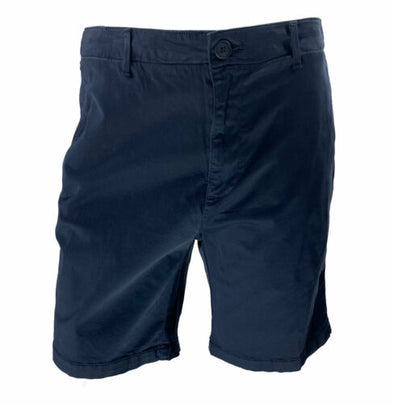 DKNY Men's Sateen Stretch Flat Front Casual Shorts Navy Size 36