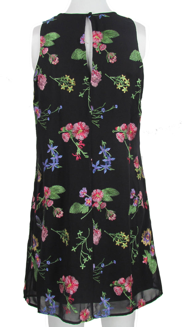 Calvin Klein Women's Embroidered Sleeveless Shift Dress Black Multi Size 6P