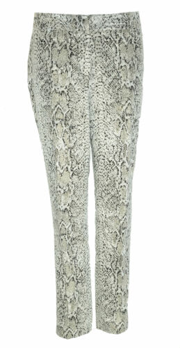 Calvin Klein Women's Slim Fit Metallic Snake Embossed Pants Blavk Beige Size 6