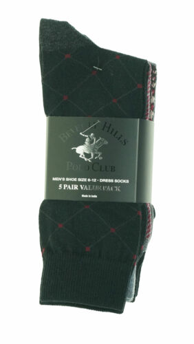 Beverly Hills Men's 5 Pair Fashion Design Dress Socks Black Magenta Gray