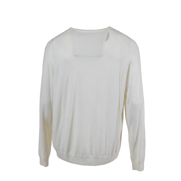 Calvin Klein Men's Merino Wool V Neck Long Sleeve Sweater Ivory Size XXL