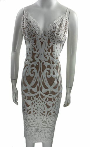 Bardot Women's Gia Lace Pencil Dress White Nude Size Medium 8