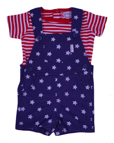 Quiltex Baby Boy's 4th of July Overall 2 Piece Outfit Red White Navy Blue